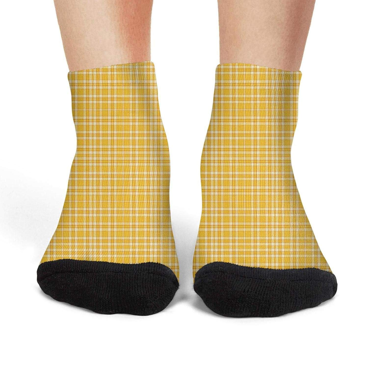 Mens athletic low cut Ankle sock Yellow Checkered lattice panels simple patterns Non-Slip Lightweight Short Sock