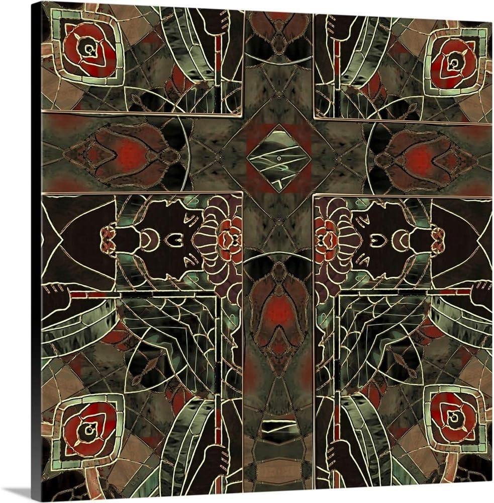 """Canvas Art Print /""""Art Nouveau Stained Glass Crucifix/"""""""
