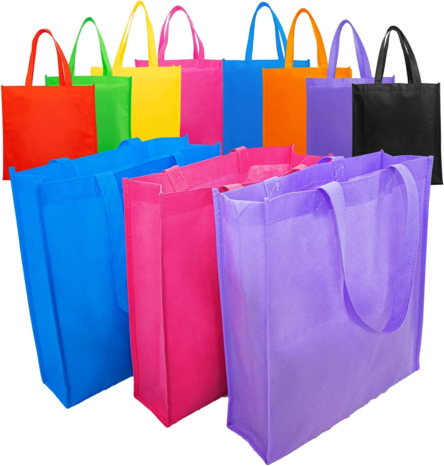 FINKSLY 40 Tote Bag Mega Color Pack Alternative to Canvas Tote Bags - Durable Blank Tote Bags, Reusable Grocery Bags & Eco-Friendly Shopping Bags, Large Tote Bags 13in x 14in x 4in, Fabric Tote Bags