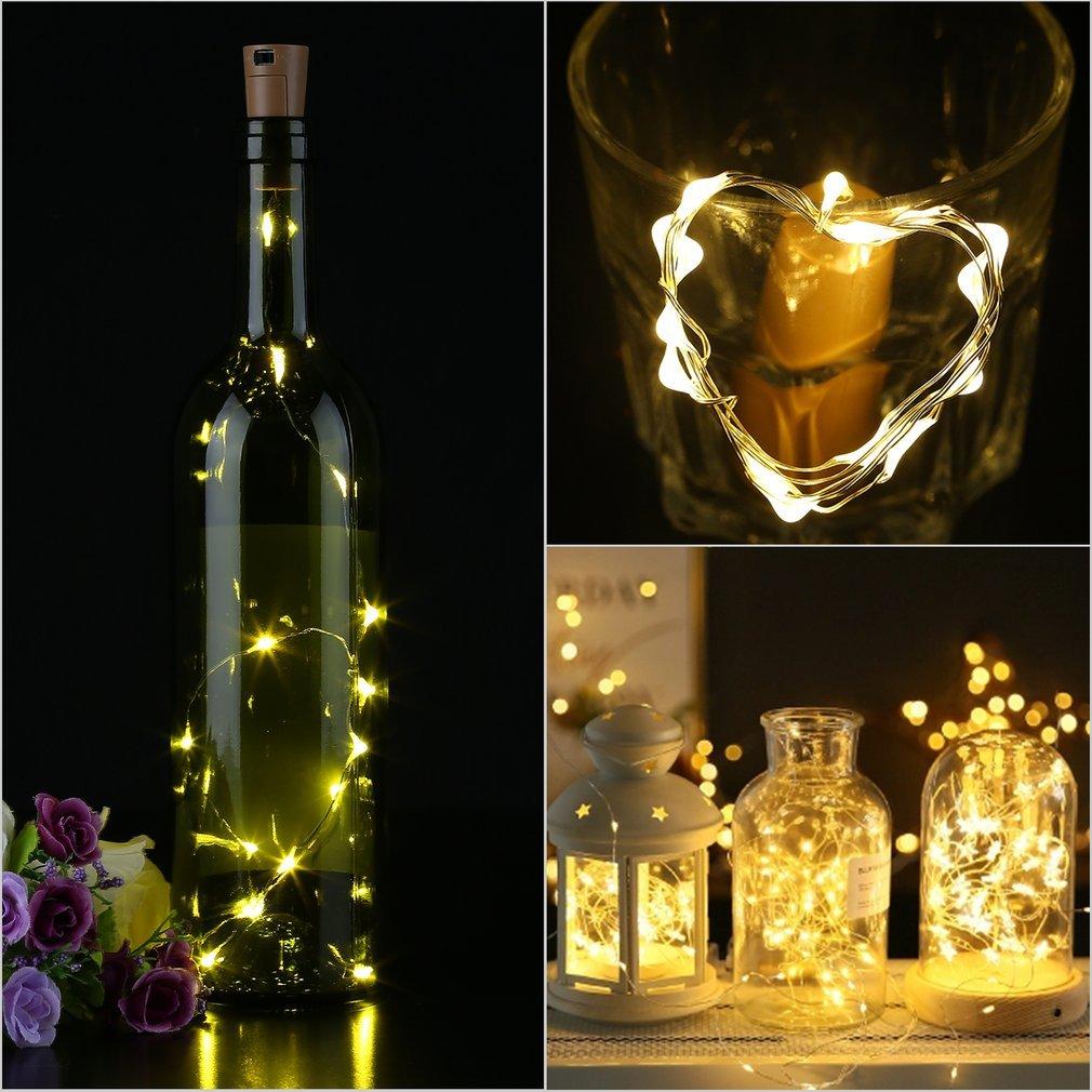 LED Lámpara de Botella, Alambre de Cobre de Plata con 15 bombillas Accionado por Batería para DIY Decoración Botella Guirnalda de Luz Cadena de Luz para ...