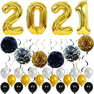 Amazon.com: LIANXUE New Years Eve Party Supplies 2021 Decorations Kit, Gold White and Black ...