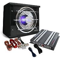 """Set de Sono Auto Platin Line 100"""" - Ampli 2 canaux 1200W, Caisson de Basses 25cm et Set de câbles (Effets LED, Filtre Passe-abs, Crossover réglable)"""