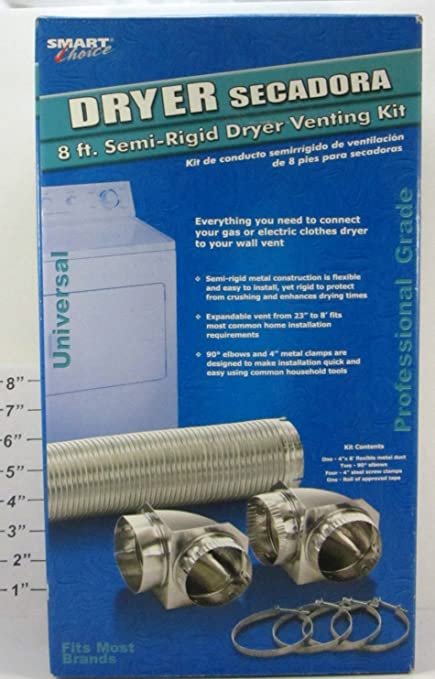 Amazon.com: Smart Choice Dryer Secadora 8 Ft. Semi-Rigid Dryer Venting Kit: Home Improvement