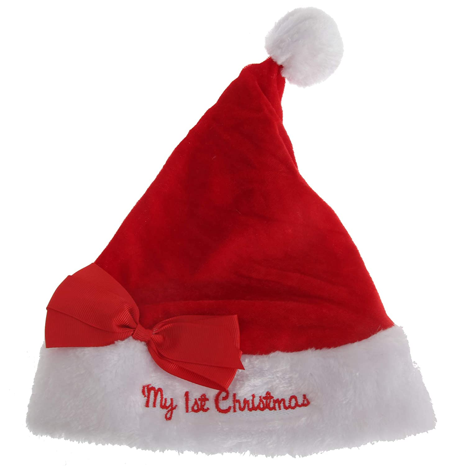 Nursery Time Baby Boys/Girls My First Christmas Santa Hat with Bow (One Size) (Red/White) UTXM114_1