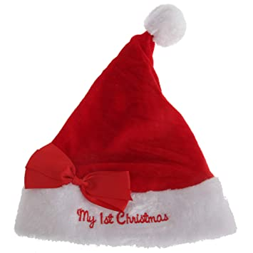 Nursery Time Baby Boys Girls My First Christmas Santa Hat with Bow (One  Size) (Red White)  Amazon.co.uk  Baby 3f96797e4160