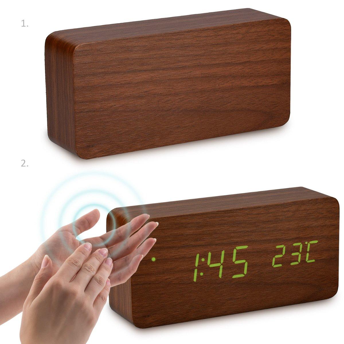 kwmobile Reloj Despertador Digital con Cable USB - Pantalla LED y activación táctil - Indicador de Temperatura y Calendario en Madera y LED Verde: ...