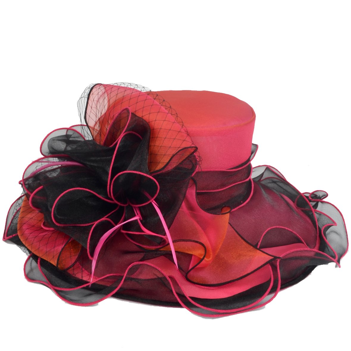 JESSE · RENA Women's Church Derby Dress Fascinator Bridal Cap British Tea Party Wedding Hat (Two-Tone-Hot Pink) by JESSE · RENA (Image #2)