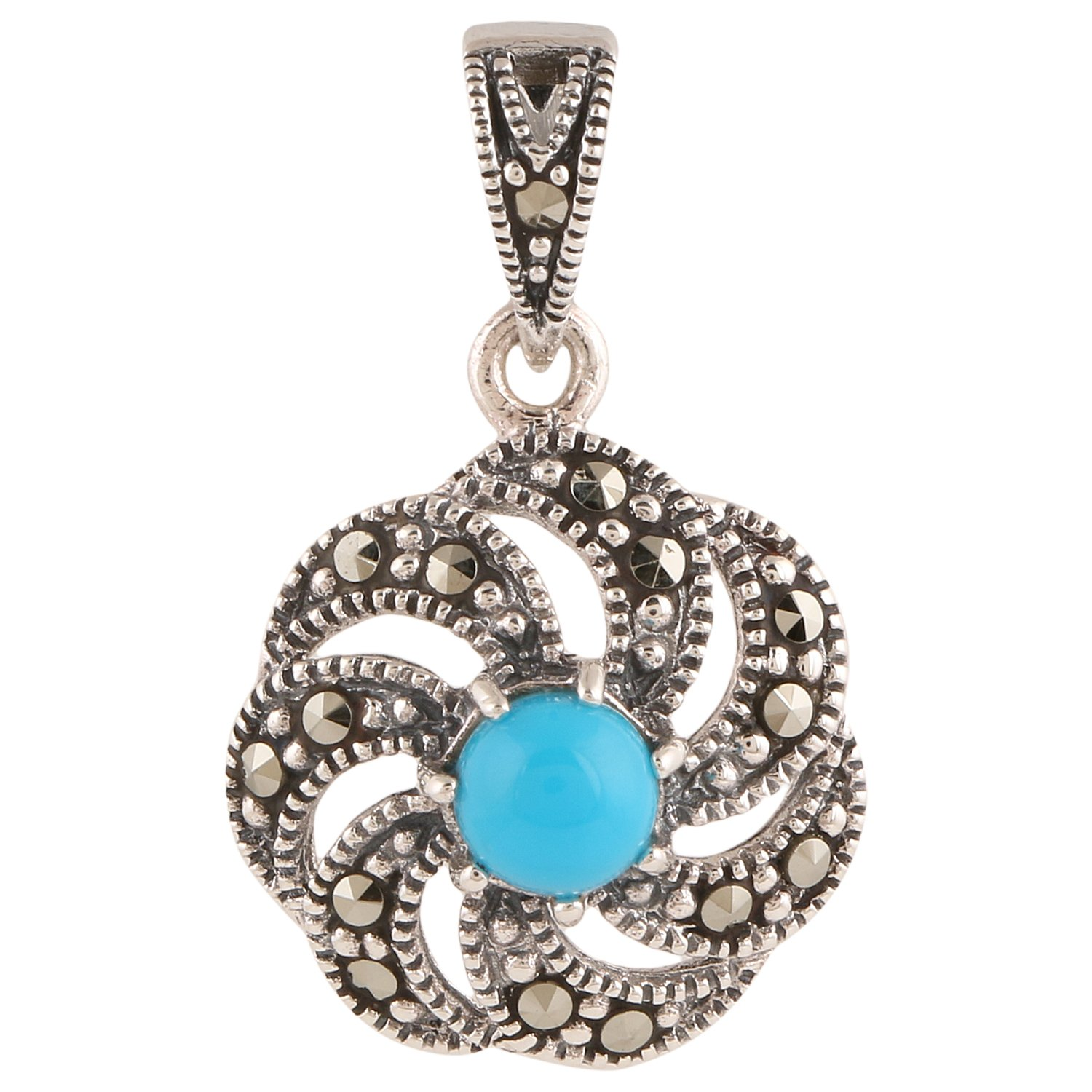 Ananth Jewels 925 Silver Swarovski Marcasite Pendant for Women