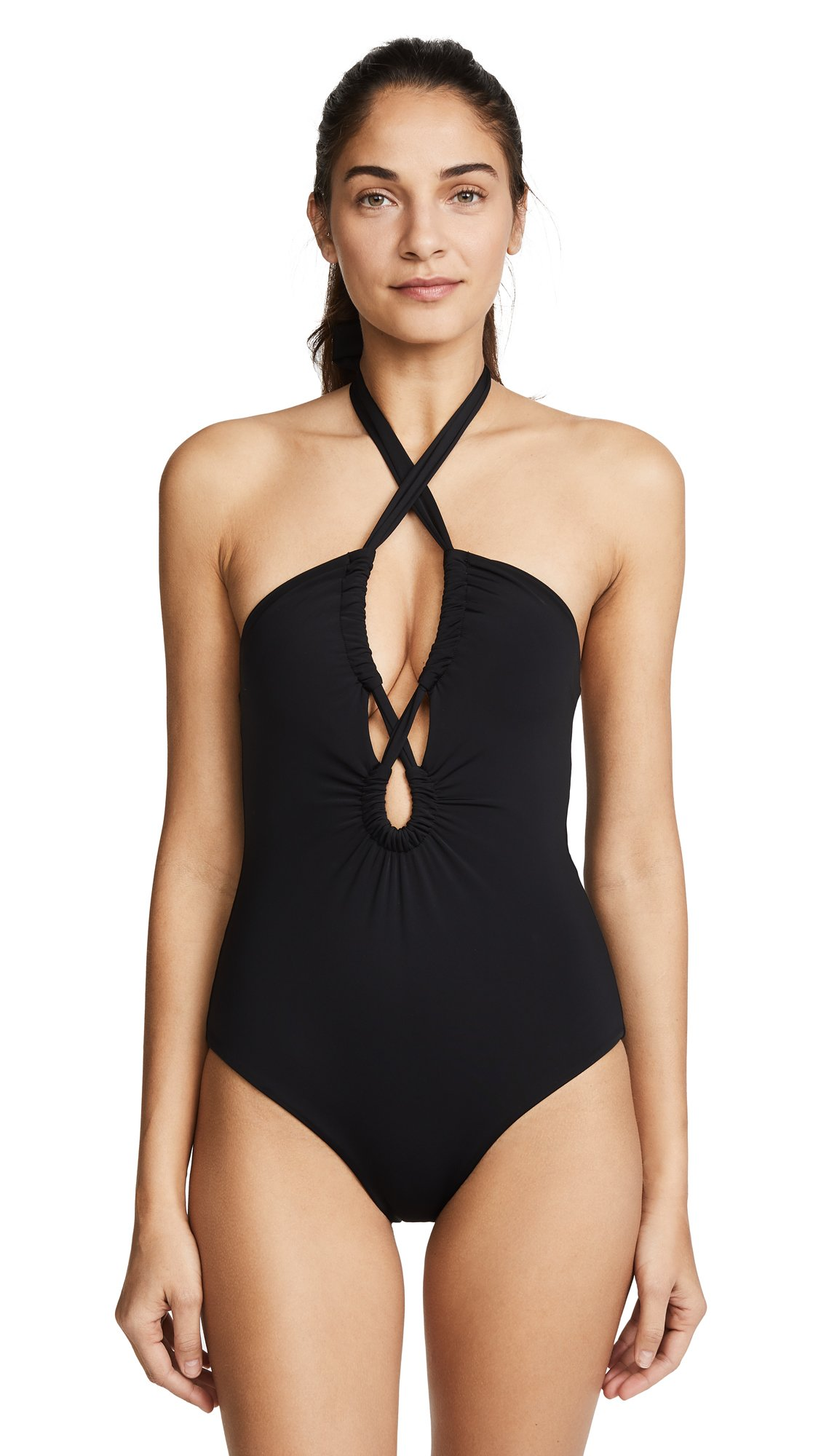 Mara Hoffman Women's Aya Halter One Piece Swimsuit, Black, L