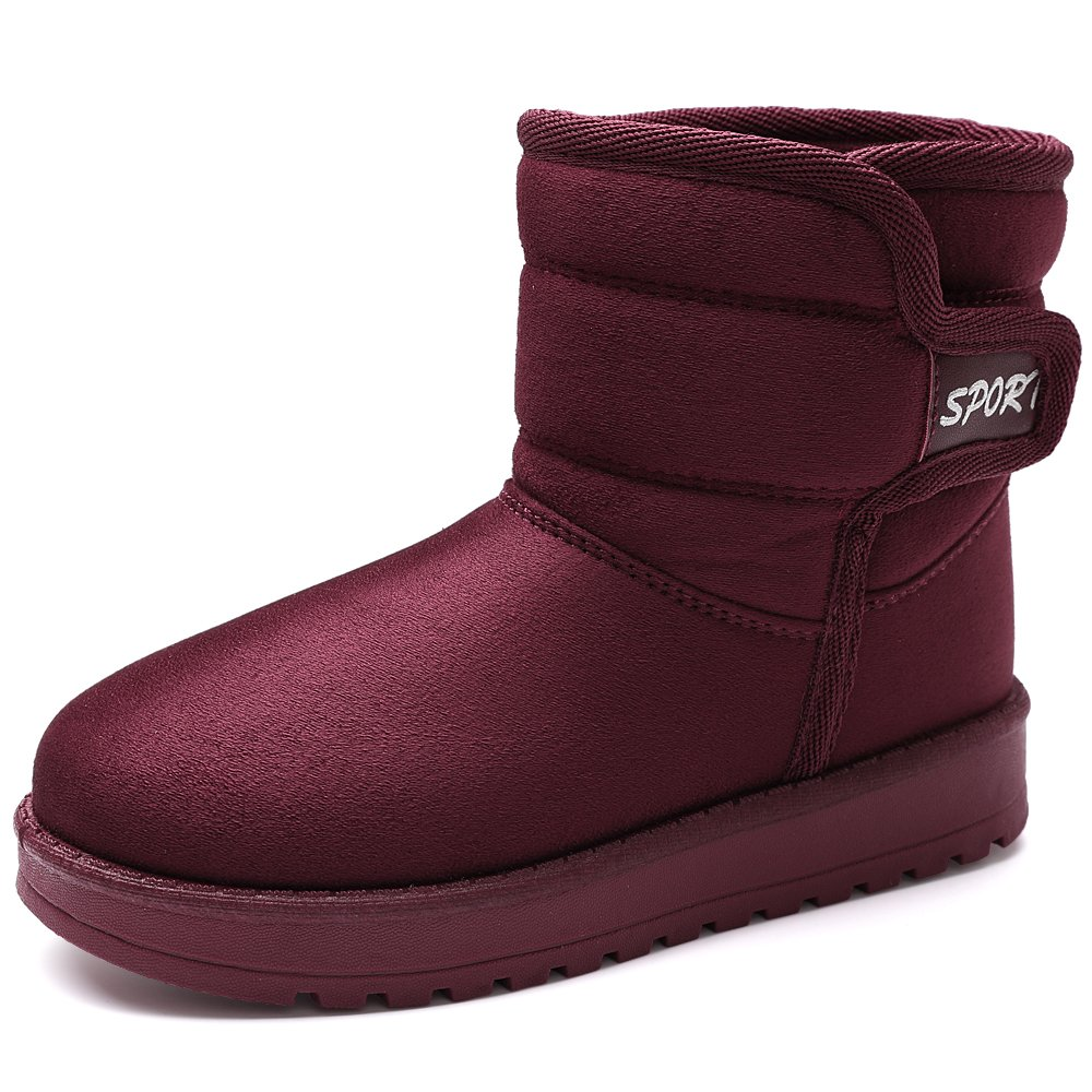 VILOCY Girl's Boy's Winter Outdoor Snow Boots Suede Slip-On Full Fur Lined Warm Ankle Shoes Red,36