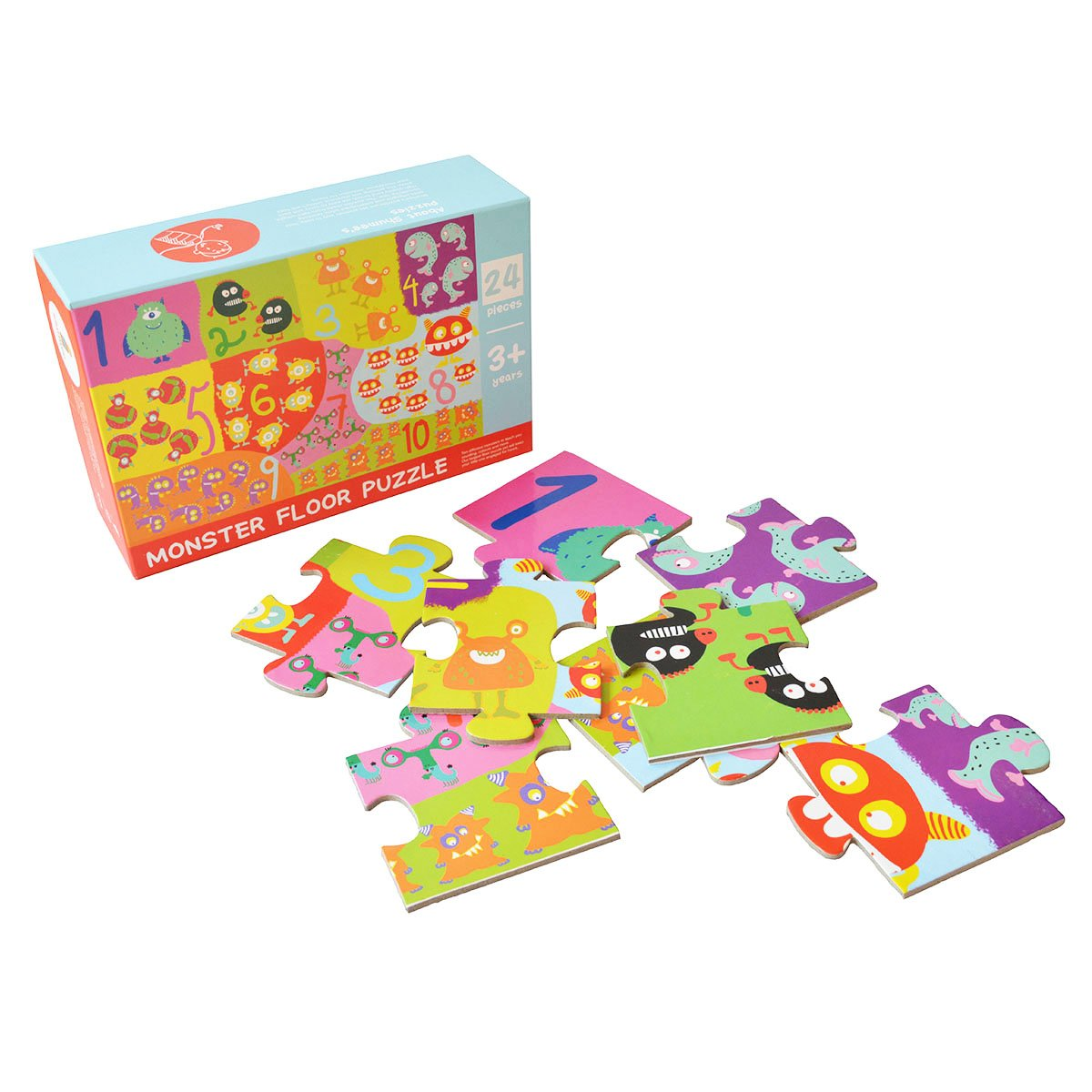 Shumee Jumbo Monster Jigsaw Floor Puzzle for Toddlers, Kids, Preschool Age Children | Educational, Constructive Toy |Learn Counting & Colors| 100% Safe, Natural & Eco-friendly | 3 Years+