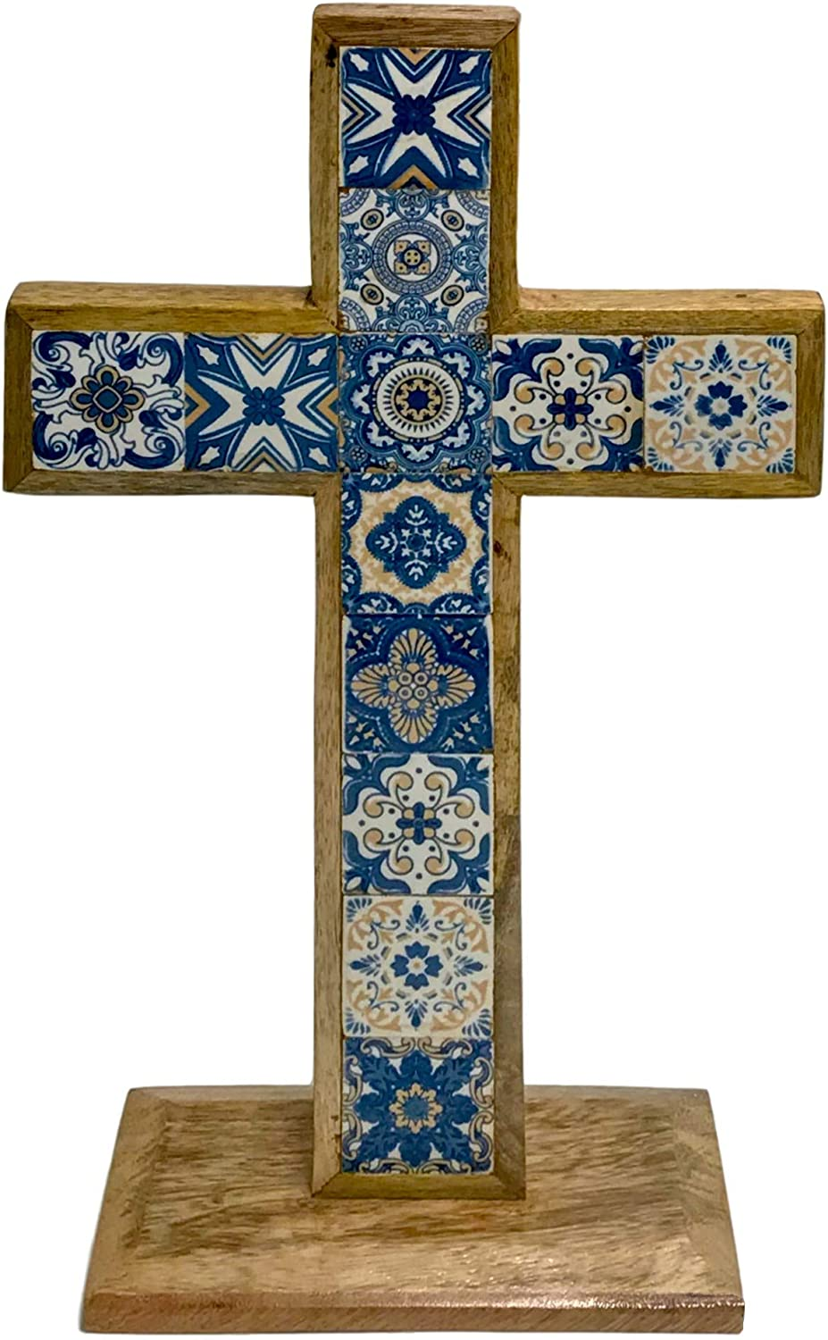 Table Cross Decor with Hand-Painted Inlaid Blue and White Ceramic Tile in Natural Mango Wood | Perfect for Christian Wall Art and Religious Table Decor (Table Cross)