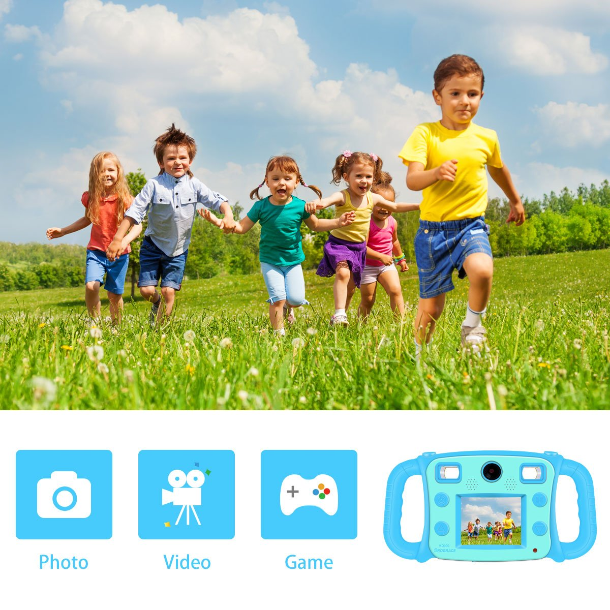 """Prograce Kids Camera Dual Selfie Camera 1080P HD Video Recorder Digital Action Camera Camcorder for Boys Girls Gifts 2.0"""" LCD Screen with 4X Digital Zoom and Funny Game(Blue) by PROGRACE (Image #3)"""