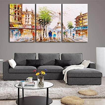 . Amazon com  Eiffel Tower Paris Street View Pictures Paintings on
