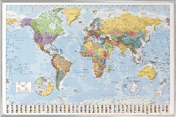 1art1 Mapas Póster con Marco (Plástico) - Mapa del Mundo Político con Banderas (91 x 61cm): Amazon.es: Hogar