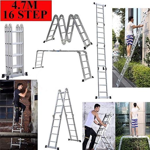 Ylmhe Escalera Plegable Telescópica Paso de combinacion 4x4 Aluminio Multipropósito 4.7M Extensible 330lbs / 150kg de Capacidad: Amazon.es: Hogar