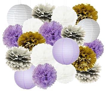 3971837df96c Furuix 20pcs White Purple Gold Grey Tissue Paper Pom Poms Paper Lanterns  Mixed Package for Purple
