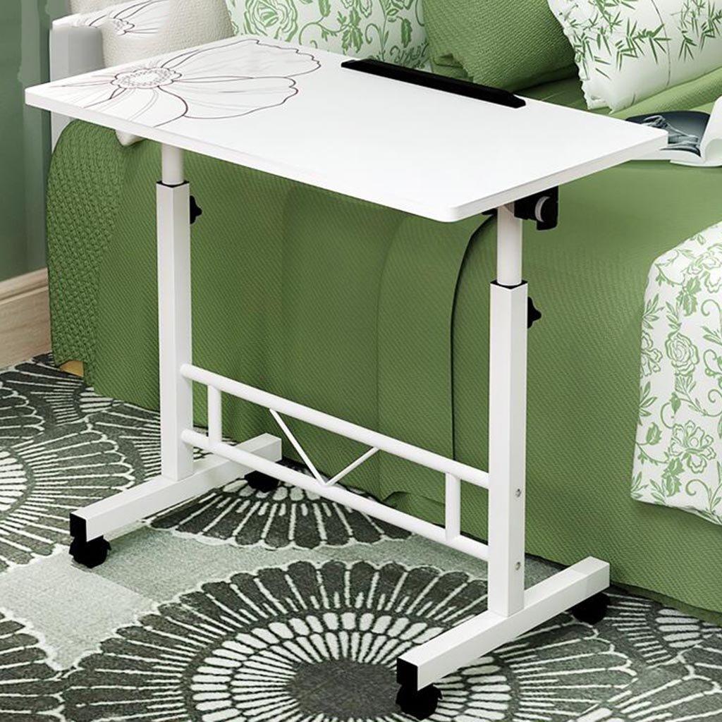 XW 折りたたみテーブル デスクトップデスクの家庭の単純な車輪付きのモバイルコンピュータのデスク調節可能な高さの怠惰なテーブル (色 : Warm white C) B07F5XW4HY Warm white C Warm white C