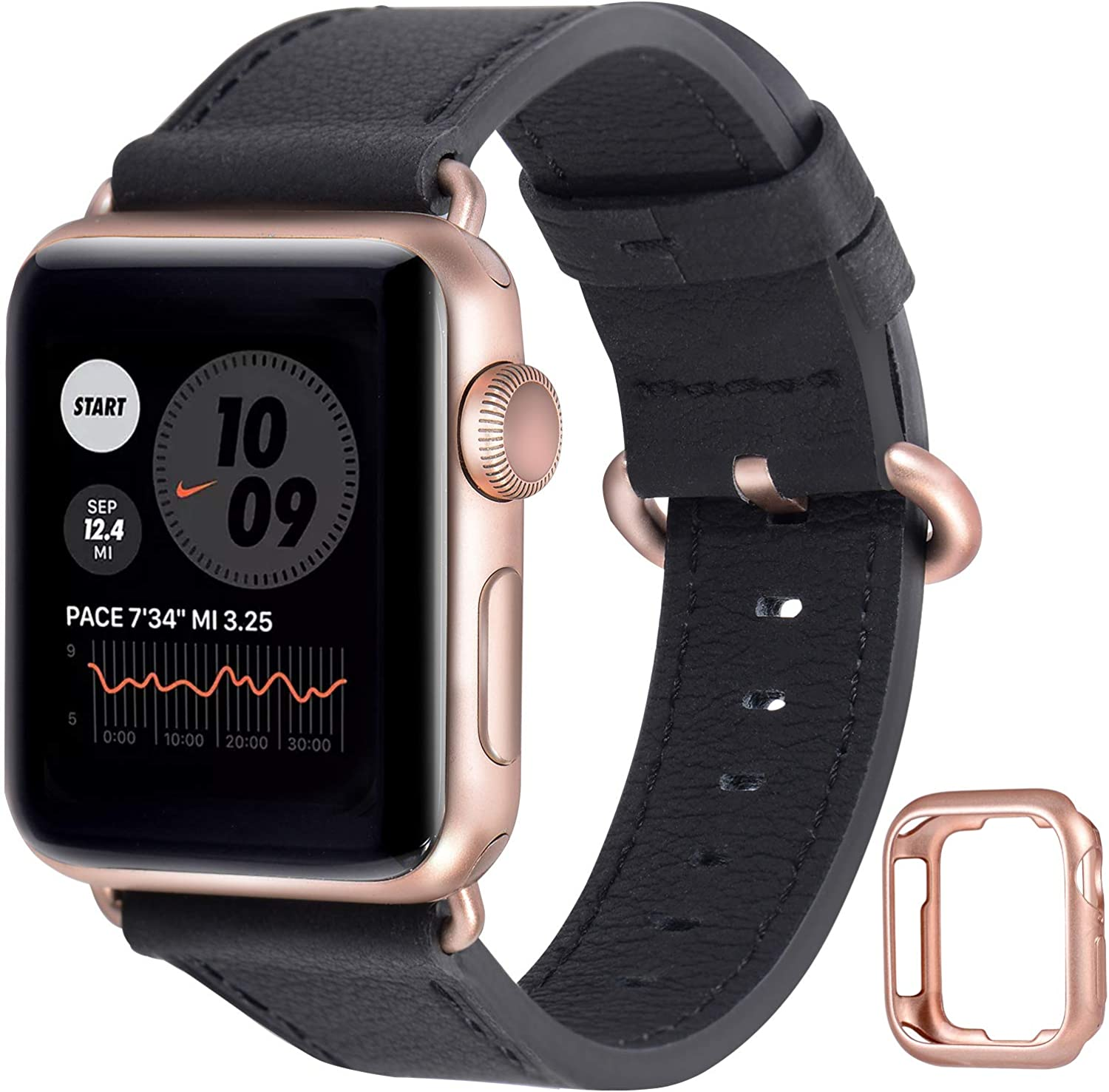 JFdragon Compatible with Apple Watch Bands 38mm 40mm 42mm 44mm Women Men Genuine Leather Strap for iwatch SE Series 6 5 4 3 2 1