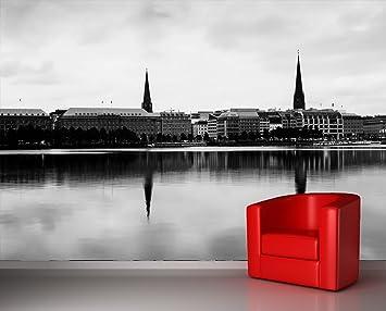Vlies Fototapete - Hamburg - schwarz weiss - 300x230 cm - inklusive ...