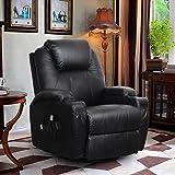 360 Degree Swivel Massage Recliner Leather Sofa Chair Ergonomic Lounge Swivel Heated with Control (Black)
