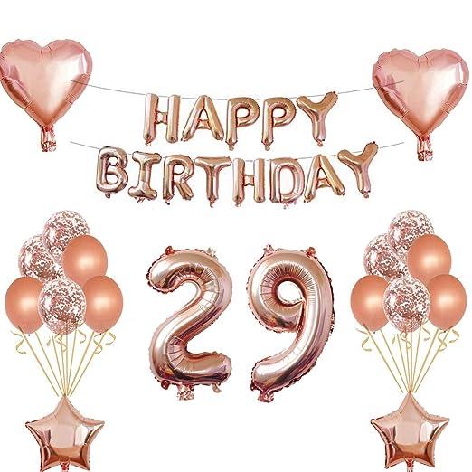 Oumezon 29 cumpleaños niña decoración Rose Gold, 29 cumpleaños decoración para niñas jóvenes Happy Birthday Guirnalda Banner Folienballon Konfetti ...