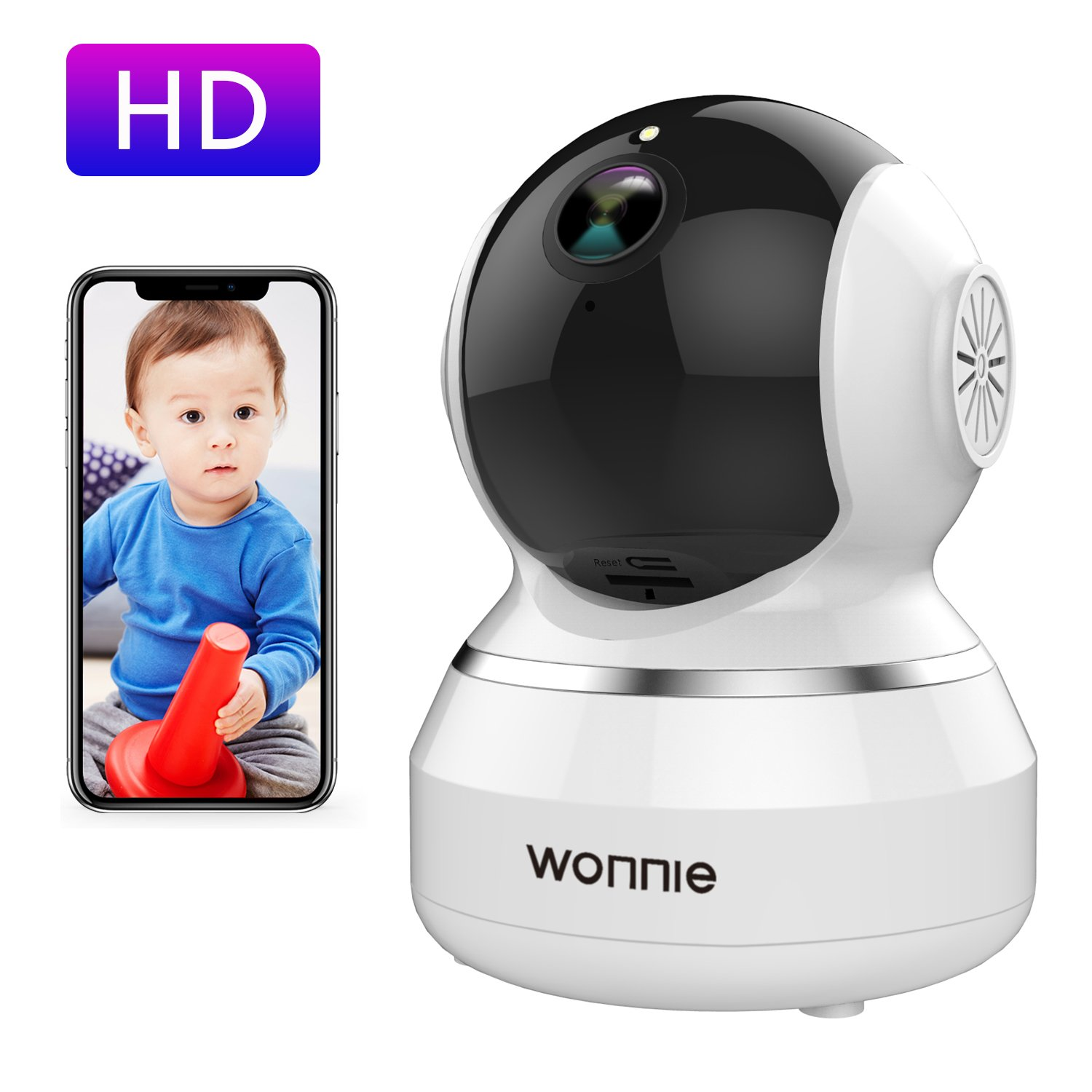 WONNIE Wireless Camera, 1080P HD Security Monitor 2.4G WiFi IP Camera Motion Detection Night Vision for Baby/Elder/Pet, Two-Way Audio by WONNIE