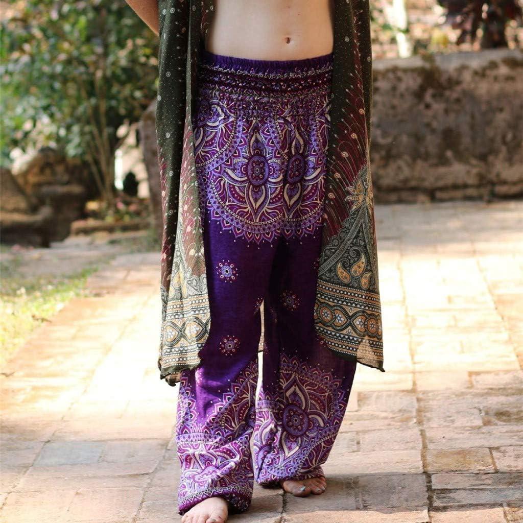 Severkill Women Thai Harem Style Trousers Boho Festival Hippy Smock High Waist Loose Yoga Pants