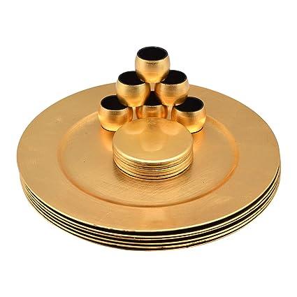 Platos de sitio y posavasos y servilleteros - dorados - Set de 18 ... 9f0ac25fab14