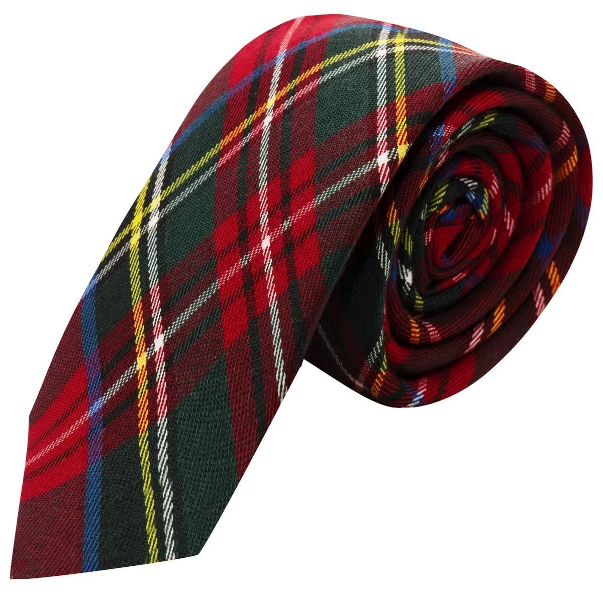 Amazon.com: Tradicional rojo cuadros escoceses corbata ...