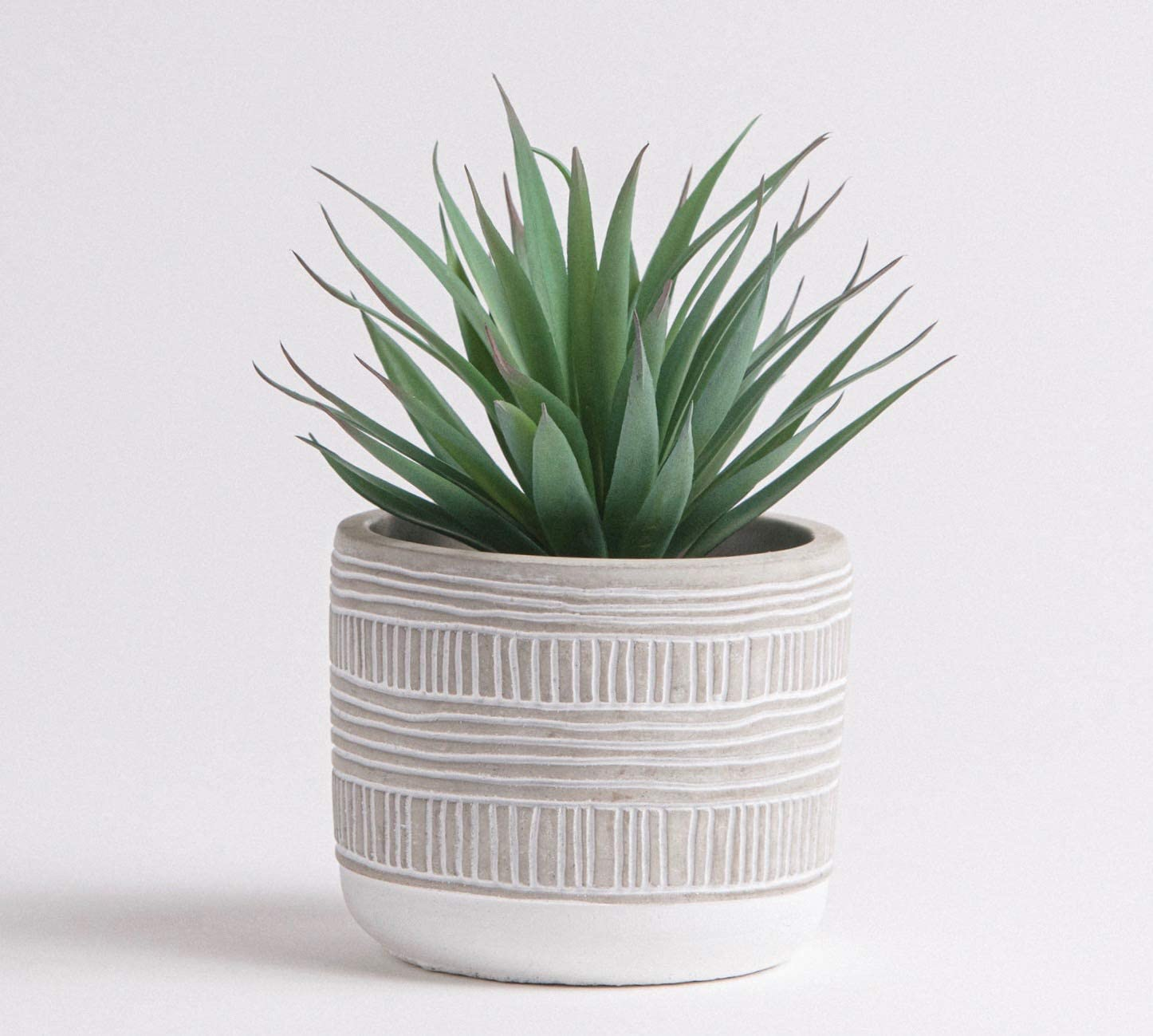 "Kurrajong Farmhouse 8"" x 5"" Artificial Plant in Concrete Cement Pot, Beautiful Faux Plant for Home Decor, Artificial Plants, Fake Plant Decor"