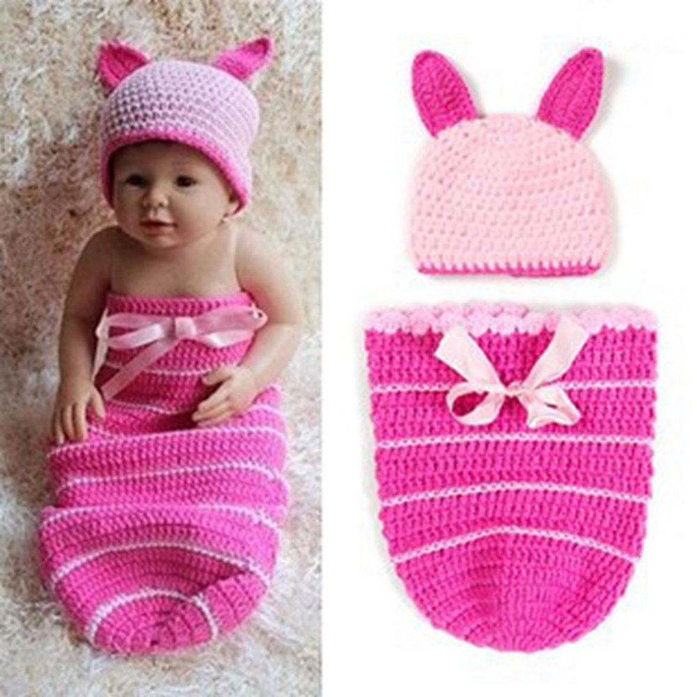 NFT Lovely Newborn Baby Girl/Boy Infant Hand Knitted Crochet Knit Costume Photo Photography Photo Props Kit Hats Outfits (Style3)