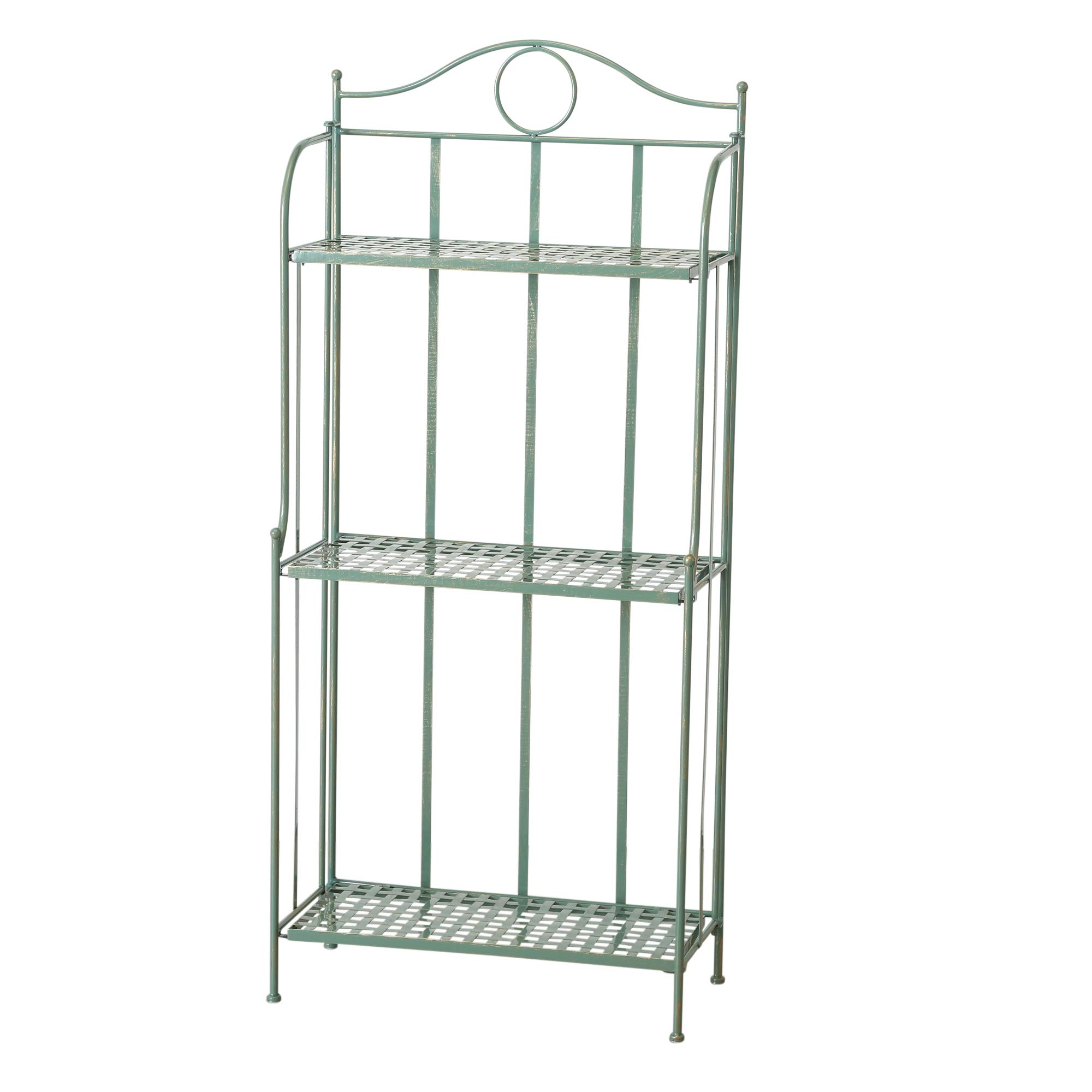 Charlton Street Bakers Rack, 3 Shelves, Rustic Green with Terracotta Undertone, Paint Rubbed Distressing, Vintage French Style, Iron, Woven Details, Folding, Indoor Outdoor Use, 4 Feet 7 Inches Tall by WHW Whole House Worlds