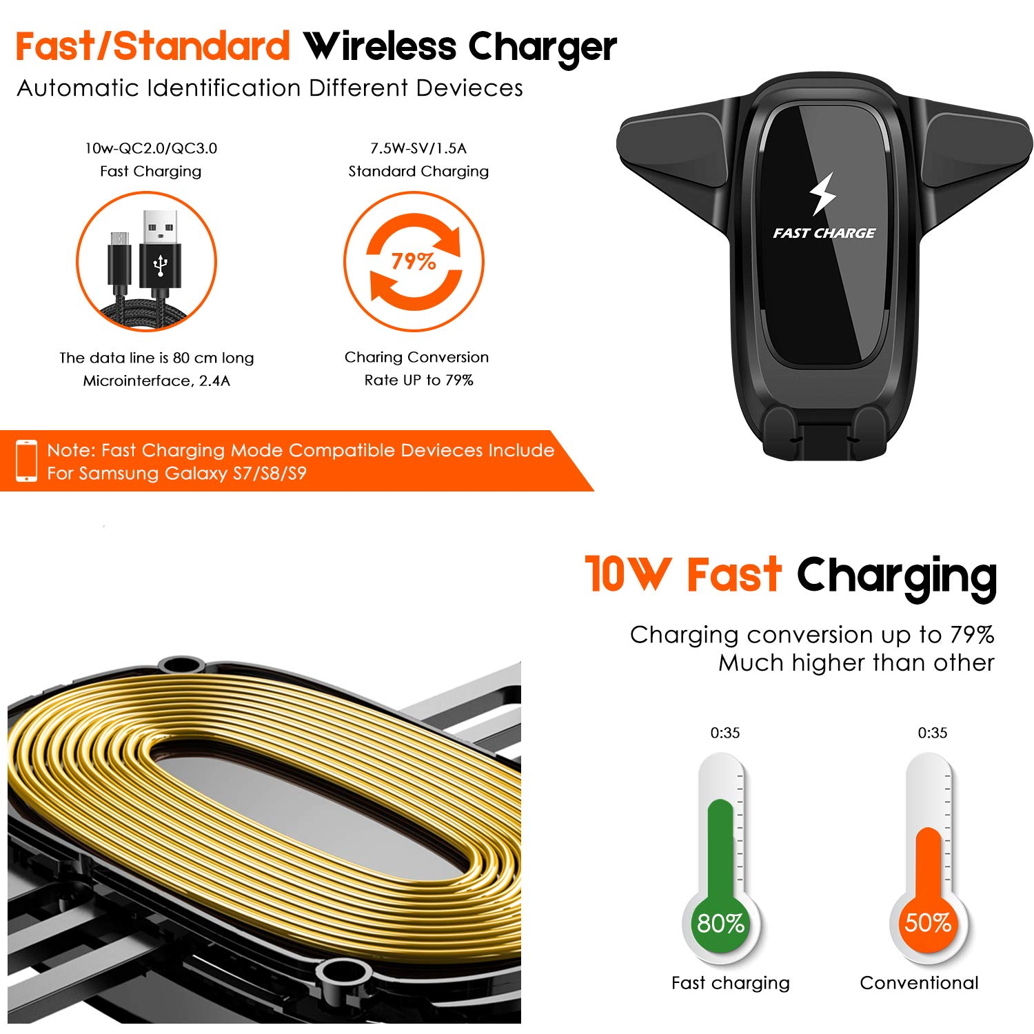 VanRayal 10w Qi Wireless Car Charger Mount,Car Phone Holder with Extra Car Charger Compatible for iPhone Xs/Xs Max/XR/X / 8/8 Plus, Samsung Galaxy Note 9/ S9/ S9+/ S8/ S8+