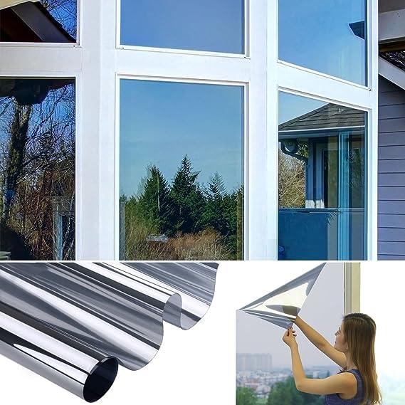 Fensterfolie Sonnenschutz Silber-Weiß Foile Spiegel Hitzeschutz Sichtschutzfolie Tönungsfolie Sichtschutz Wärmeisolierung 99%