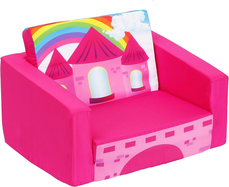 Sofás para niños Sofá Cama para niños Sofá tapizado para bebés Sillón para Dormir Sillón reclinable Abierto (Rojo Rosa)