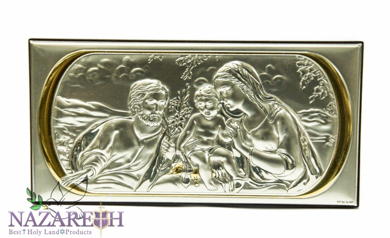 Beautiful Sterling Silver Holy Family Icon Wall Decor Handmade Jerusalem 8.7''