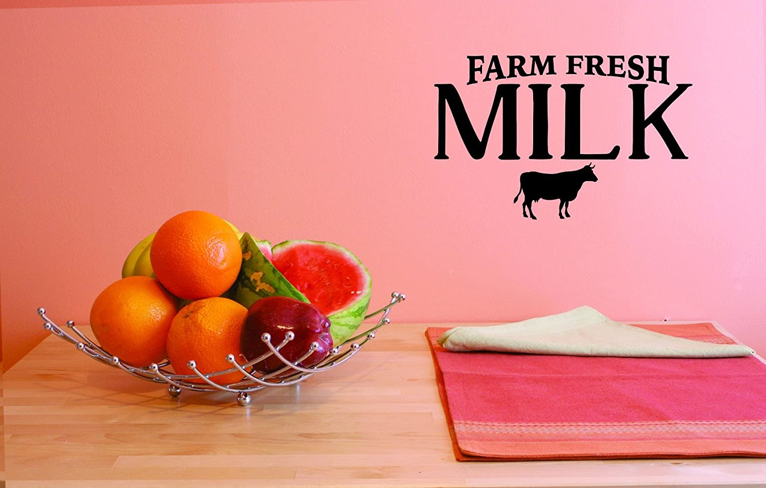 Design with Vinyl JER 1822 1 Hot New Decals Farm Fresh Milk Wall Art Size Black 10 x 20, 10 Inches x 20 Inches Color