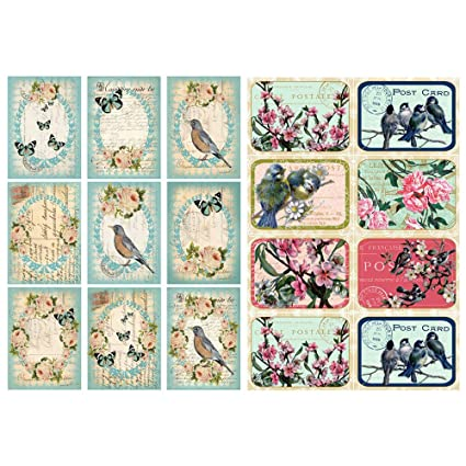 Seasonstorm Retro Birds Flower Postcard Waterproof Decor Planner Sticker Pack Post It Notebook Agenda Toy Scrapbooking Stickers (PK123)