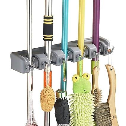 Home Neat Mop And Broom Holder Wall Mount Garden Tool Storage Tool Rack  Storage U0026