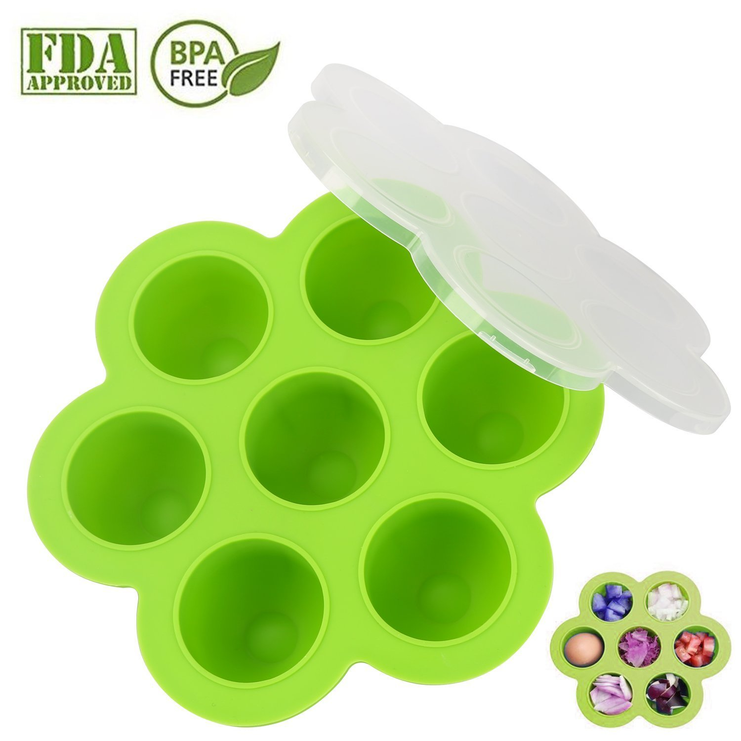 Becozier Premium Silicone Egg Bites Molds for Instant Pot Accessory for 5,6,8 qt Pressure Cooker, Storage Container and Freezer Tray with Clip-on Lid - BPA Free, 100% FDA Food Grade Silicone(Green)
