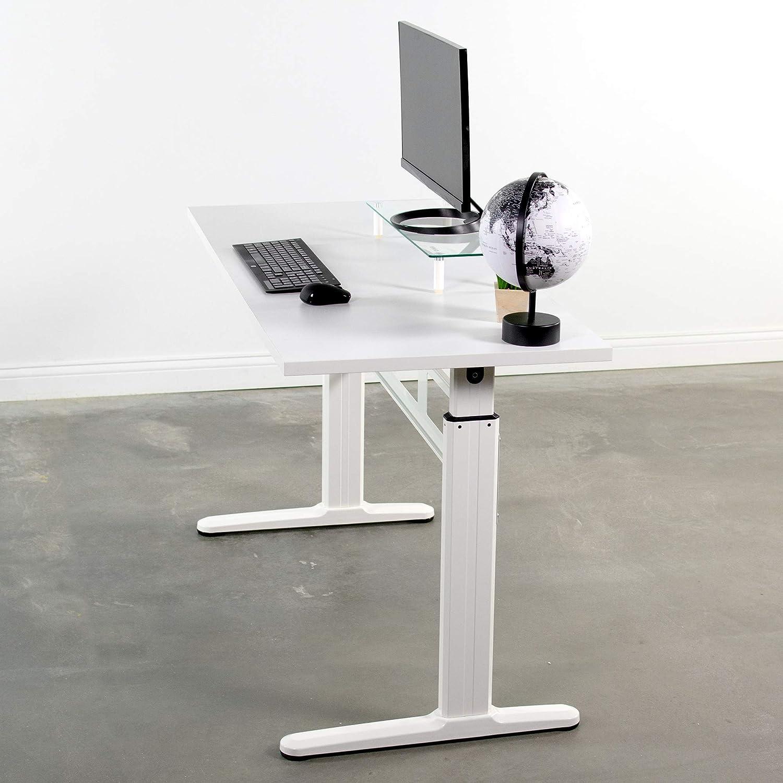 DESK-V100M VIVO Black Manual Height Adjustable Table Sit-Stand Desk with 55 x 24 Tabletop Standing Desk Frame and Desktop Workstation