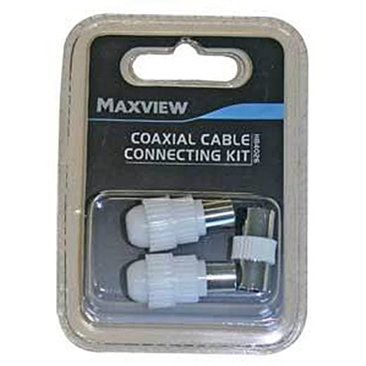Maxview TV/FM Coaxial Cable Connecting Kit (One Size) (White/Silver
