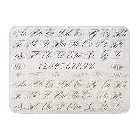 Amazon.com: Emvency Bath Mat Cursive Caligraphy Calligraphy Tattoo ...