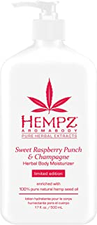 product image for Hempz Aromabody Sweet Raspberry Punch & Champagne Herbal Body Moisturizer, 17 Fl Oz - Skin Care Products for Dry Skin, Daily Hemp Extract Lotion for Women and Men, Paraben-Free Body Cream - Hydrating
