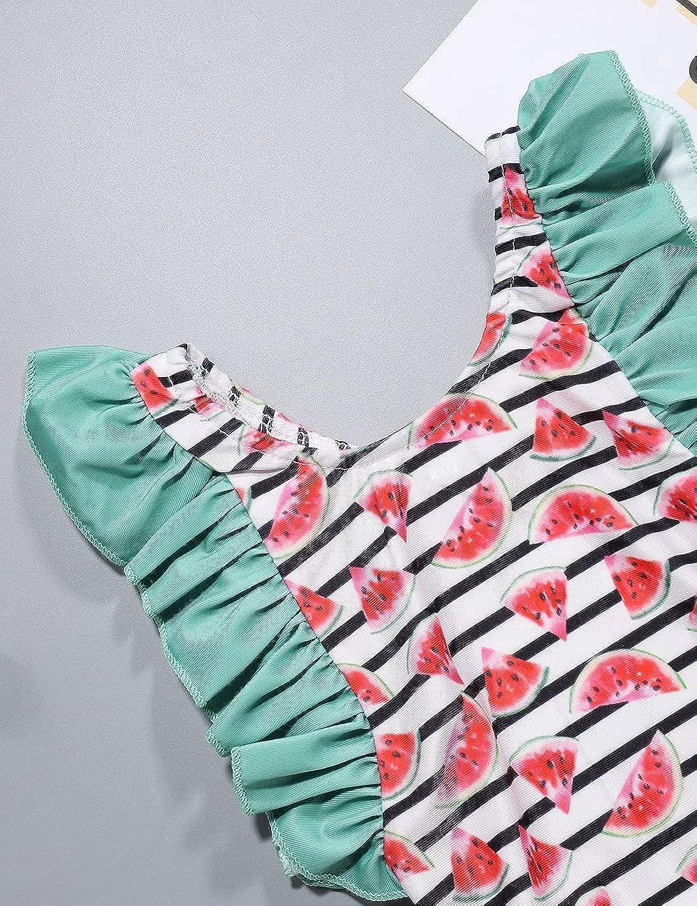Baby Girl Bikini Striped Beach Swimsuit Ruffles Bathing Suit Swimwear+Headband 2 Pcs Set