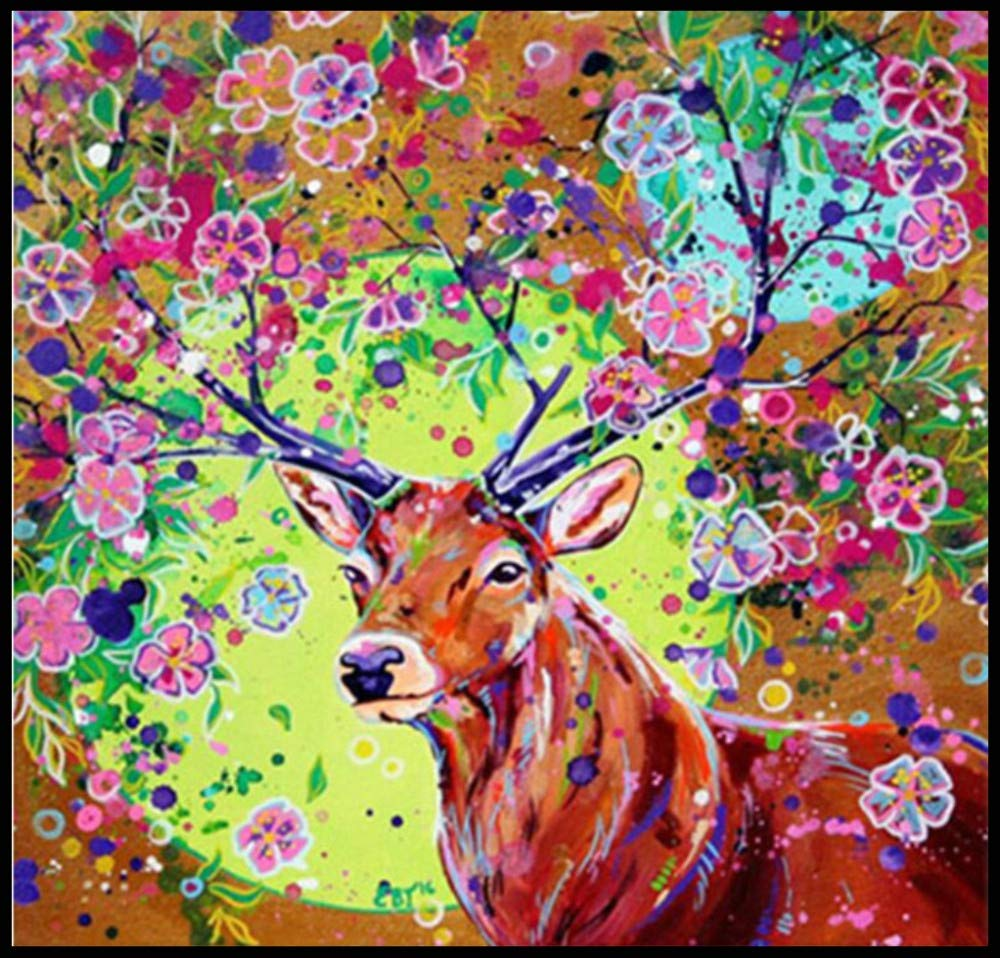 Amyline DIY 5D Diamond Painting Full Drill Kits Christmas Gifts Christmas Wall Decorations -Elk with Colorful Flowers