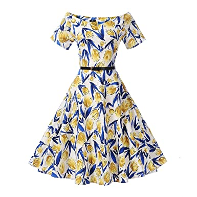 Womens Floral Print Belted Vintage Dress Short Sleeves Elegant 60s Summer Retro Dress For Party Office