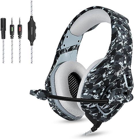 Camuflaje Auriculares Gaming Micrófono Cascos Juegos Estéreo para ...