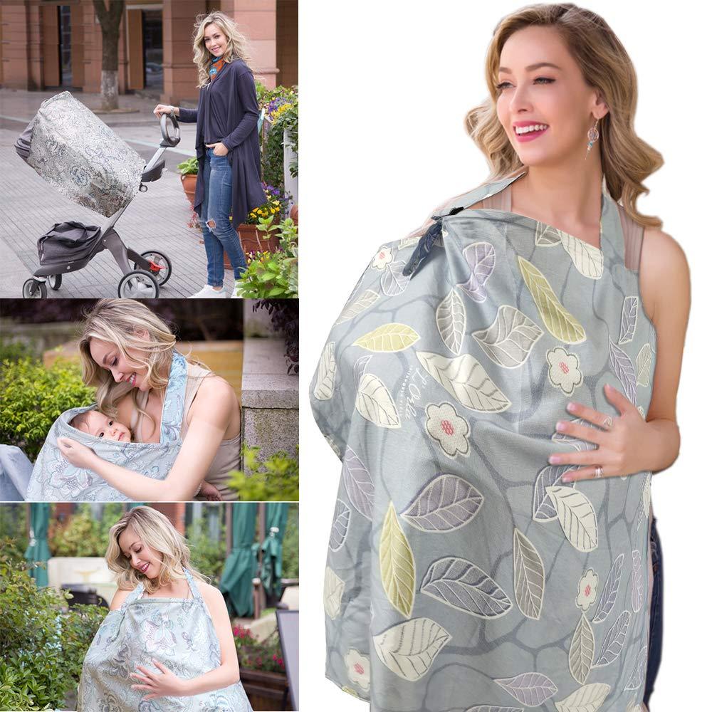 Nursing Apron for Breastfeeding White Forest Rigid Neckline Nursing Cover ChuGii Lightweight Breathable 100/% Cotton Breastfeeding Cover